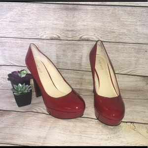 Nine West Red Patent Leather Platform Heels Sz.8